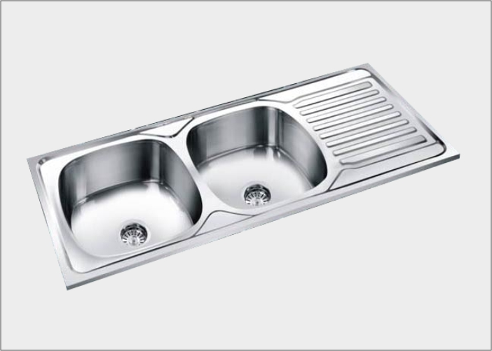 imagine® group-double bowl sinks drain board